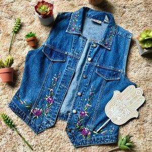 {Vintage} Floral Embroidered & Gem Denim Jean Vest